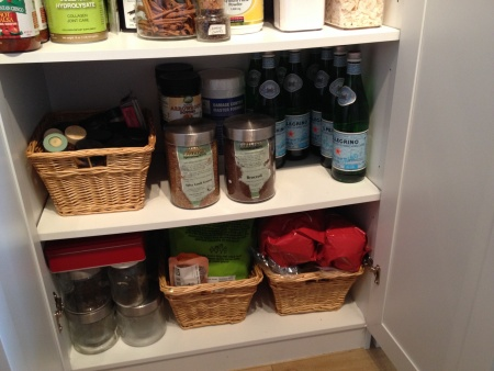 Pantry shelves with food