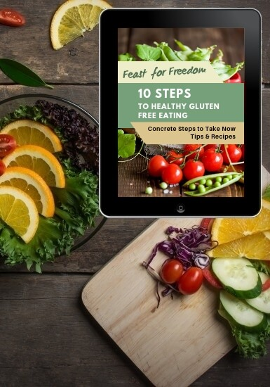Gluten free quick start booklet on top of meal preparation