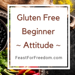 Gluten free beginner attitude banner over peppers and beans on a tray