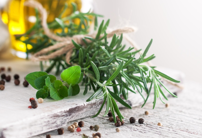 Fresh herbs on a table