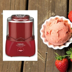 Cuisinart Ice Cream Maker and strawberry ice cream