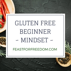 Gluten free beginner mindset banner over peppers on a table