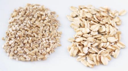 Rolled vs steel cut oats close up shot
