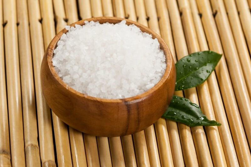 Crystal salt in a bamboo bowl