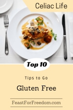 Pinterest mini image - 10 tips to go gluten free diet with a fancy chicken dish