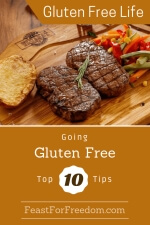 Pinterest mini image - Going gluten free to 10 tips with a steak and potato on a wooden platter