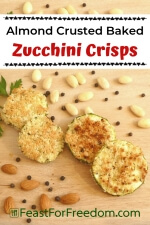 Pinterest mini image - Almond crusted zucchini side dish on wood platter with parsley, whole almonds and peppercorns