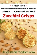 Pinterest mini image - Almond crusted zucchini side dish on wood platter with almonds and peppercorns for garnish