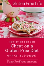 Pinterest mini image - How often can you cheat on a gluten free diet with Celiac Disease with a delicate iced Christmas cookie on a plate