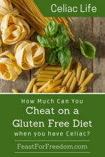 Pinterest mini image - How much can you cheat on a gluten free diet when you have Celiac with a variety of pasta shapes and fresh basil