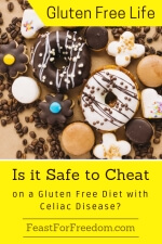 Pinterest mini image - Is is safe to cheat on a gluten free diet with Celiac Disease with a variety of donuts and cookies