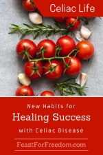 Pinterest mini image - New habits for healing success with Celiac disease with fresh cherry tomatoes on the vine