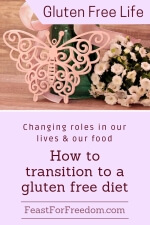 Pinterest mini image - Changing roles in our lives and our food, how to transition to a gluten free diet with a pink butterfly decoration and a bouquet of light pink flowers
