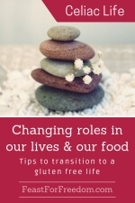 Pinterest mini image - Changing roles in our lives and our food, tips to transition to a gluten free life with a softly naturally colored stack of rocks with a sprig of white little flowers