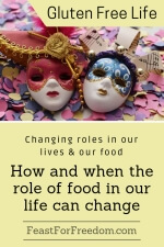 Pinterest mini image - Changing roles in our lives and our food, how and when the role of food in our life can change with 2 softly colored masquerade masks