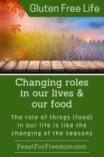 Pinterest mini image - Changing roles in our lives and our food, the role of things (food) in our life is like the changing of the seasons with a forest image that transitions through all 4 seasons