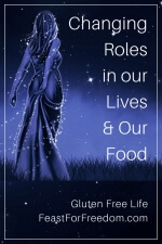 Pinterest mini image - Changing roles in our lives and our food with a night time blue and black drawing of a woman in a long dress