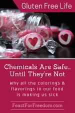 Pinterest mini image - Chemicals are safe until they're not, why all the colorings and flavorings in our food is making us sick with a tipped over jar of hard pink and white candies with a heart shape in the middle