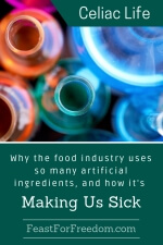 Pinterest mini image - Why the food industry uses so many artificial ingredients, and how it's making us sick with a selection of brightly colored vials of chemicals