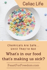 Pinterest mini image - Chemicals are safe until they're not, what's in our food that's making us sick with a bowl of brightly colored 'O' cereal with milk