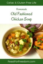 Pinterest mini image - Chicken soup in a bowl next to fresh carrots and onions, and garnished with parsley