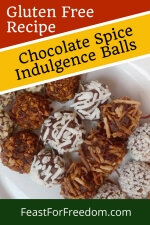 Pinterest mini image - Chocolate spice cookies with various coatings on a plate