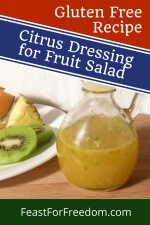 Pinterest mini image - Jar of fruit salad dressing next to a plate of fruit