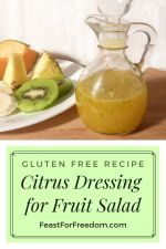 Pinterest mini image - Jar of homemade salad dressing for fruit salad beside fruit