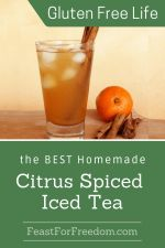 Pinterest mini image - Citrus and spice iced tea in a large glass next to an orange and cinnamon sticks