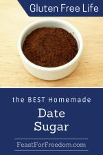 Pinterest mini image - Homemade date sugar in a small bowl