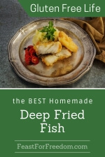 Pinterest mini image - Deep fried fish on an antique silver plate with sliced grape tomaotes
