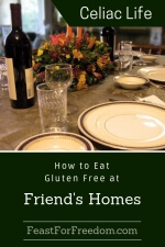 Pinterest mini image - How to eat gluten free at friend's homes with a nicely set dinner table