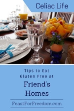 Pinterest mini image - Tips to eat gluten free at friend's homes with a fancy breakfast table