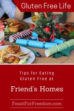 Pinterest mini image - Tips for eating gluten free at friends homes festive dinner table