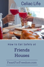 Pinterest mini image - How to eat safely at friends houses with a bright holiday dinner table with clinking glasses of punch