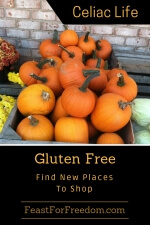 Pinterest mini image - Gluten free, find new places to shop and a bin of pumpkins
