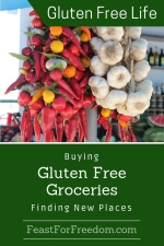 Pinterest mini image - Buying gluten free groceries, finding new places with hanging fresh hot peppers and garlic