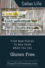 Pinterest mini image - Find new places to buy food when you eat gluten free with a grey barn wall with rustic for sale signs for honey, cold watermelon and jams, jellies and pies
