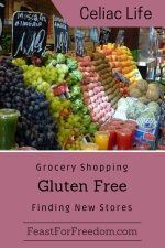 Pinterest mini image - Grocery shopping gluten free, finding new stores with a market stall showing a wide variety of fresh fruit