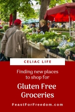 Pinterest mini image - Finding new places to shop for Gluten Free Groceries, showing a lovely farmers market with fresh vegetables and shoppers