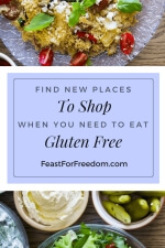 Pinterest mini image - Find new places to shop when you need to eat gluten free with a plate of food and some pickles