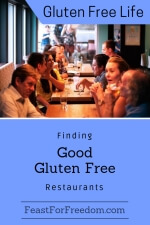 Pinterest mini image - Finding good gluten free restaurants with a row of restaurant tables with people talking and visiting
