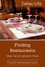 Pinterest mini image - Finding restaurants that serve gluten free with a rustic dining room with a nicely set table