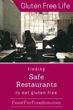 Pinterest mini image - Finding safe restaurants to eat gluten free with a trendy cafe with comfortable seating and tables with people enjoying themselves