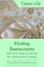 Pinterest mini image - Finding restauarants that are safe to eat at for those with Celiac with an elegantly set table