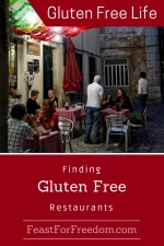Pinterest mini image - Finding gluten free restaurants with an outdoor restaurant filled with people eating and drinking