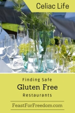 Pinterest mini image - Finding safe gluten free restaurants with an outdoor fancy dinner set up with glassware and flowers