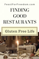 Pinterest mini image - Finding good gluten free restaurants with a candlelit dining table