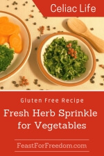 Pinterest mini image - Fresh herb sprinkle in a little dish garnished with tiny dried red peppers, next to a plate of vegetables