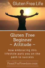 Pinterest mini image - Gluten free beginner - attitude - how embracing this lifestyle puts you on the path to success with a woman silhouetted against a sunset